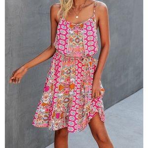 Fabulous Boho gypsy hot pink floral mini dress